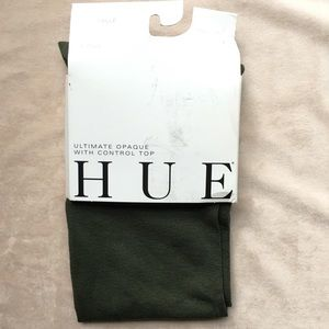 HUE Accessories - NWT HUE brand Army Green Opaque Tights-size 2
